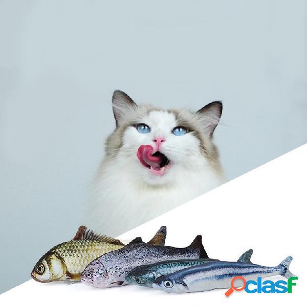 Yani 30 cm tamanho grande animais de estimação interativos travesseiro brinquedos catnip simulação forma de peixe de pelúcia boneca brinquedo do gato da mordida da mastigação