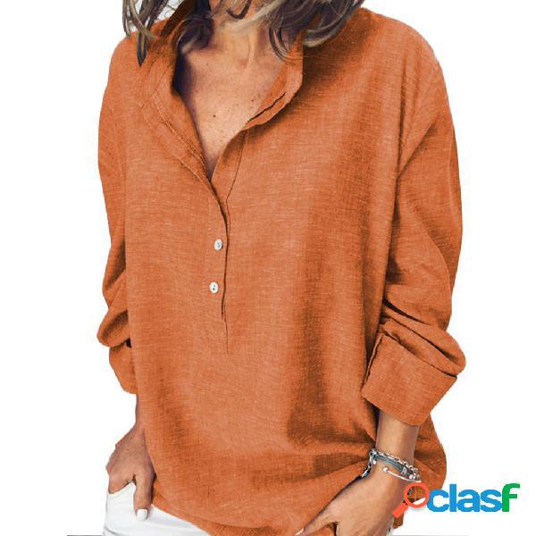 T-shirt feminina de cor sólida casual moda de manga comprida mulher de camisa