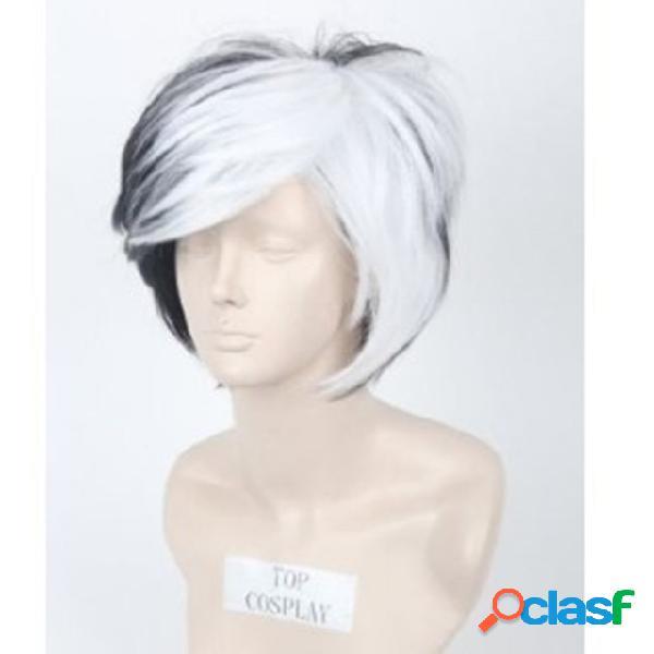 Preto branco misturado cor fofo curto reto cabelo anime cosplay masculina curto cabelo