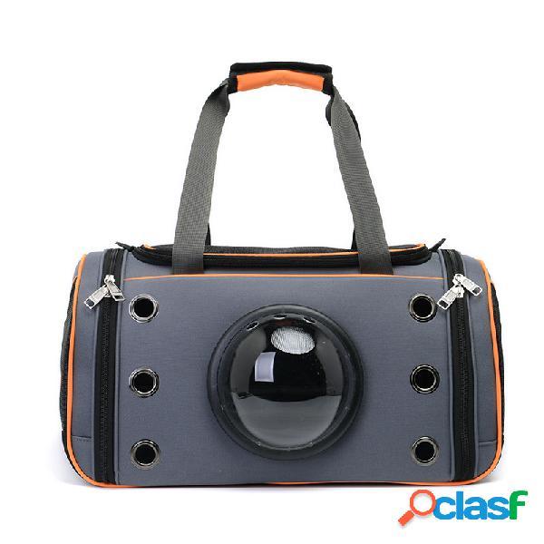 Criativo transparente design da janela capa respirável cão gato pet travel bag bolsa de ombro dois opcional