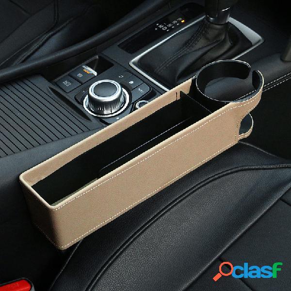Armazenamento de espaço para assento de carro caixa porta-copos multifuncional de couro para carro