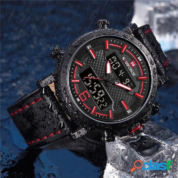 Naviforce 9135 dual display digital assista pulseira de couro chronograph mens relógios à prova d 'água