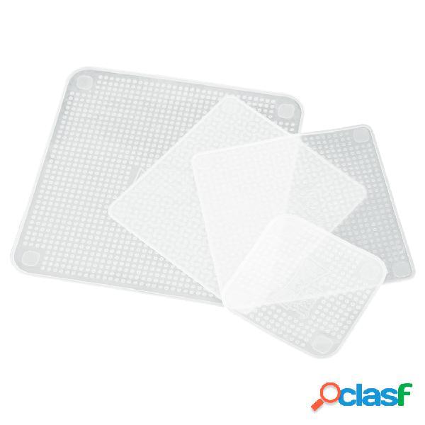 4 unidades / pacote transparente de silicone multifuncional para comida fresca