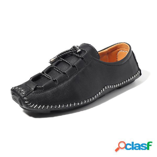 Couro de microfibra de homens costura casual sapatos anti-colisão