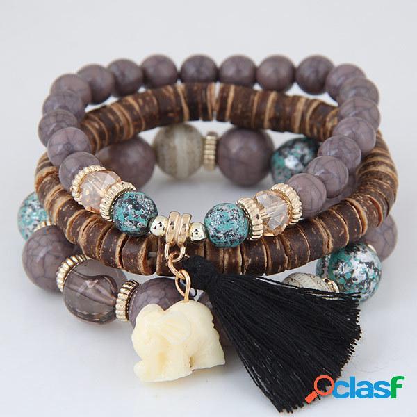 Pulseira de multicamadas boêmio animal elefante coração colorful borla frisada pingente pulseira para as mulheres