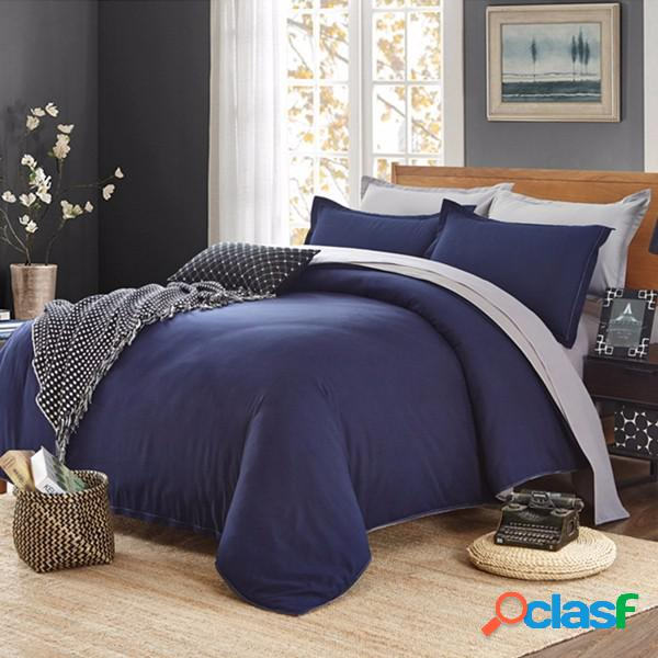 4peças jogo de cama lençol capa de edredão fronha cor sólida
