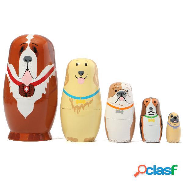 5 pcs russian wooden nesting dolls cães matryoshka dom pintado à mão gift tricky toys creative gift