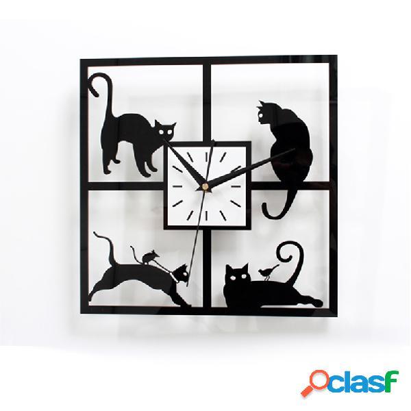 3d acrílico kawaii relógio de parede de gato preto relógio de decoração de quintal quartz 3d