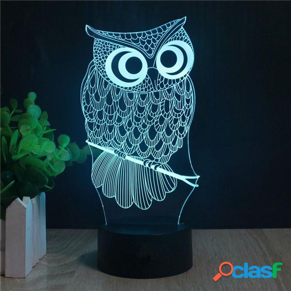 Decbest owl 3d led lights bateria usb colorful touch control night light gift home decor