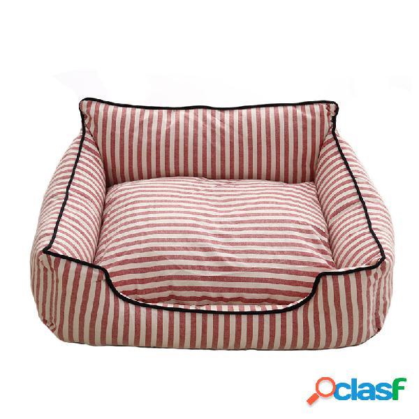 2 cores stripe padrão pet sofá cama mat cão gato sofá canil