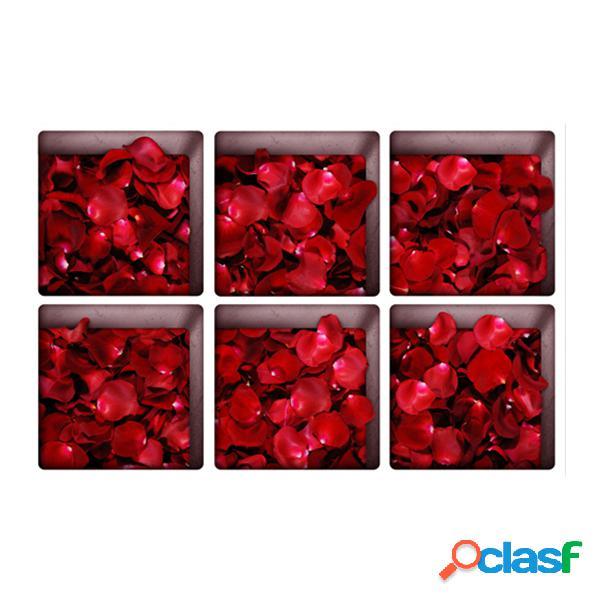 6pcs 13x13cm rose folha padrão 3d anti deslizamento banheira à prova d 'água adesivo