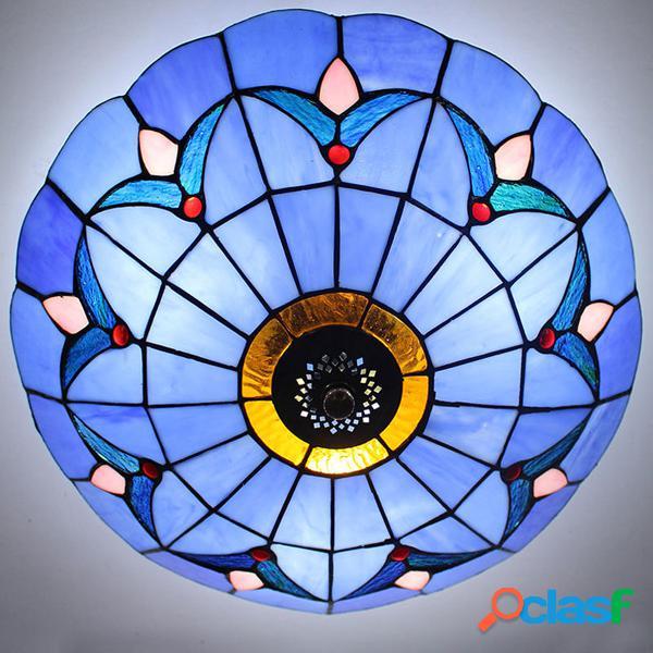 Estilo europeu cor azul luminária de teto de vidro de fixação de montagem de flush luz de teto do vintage