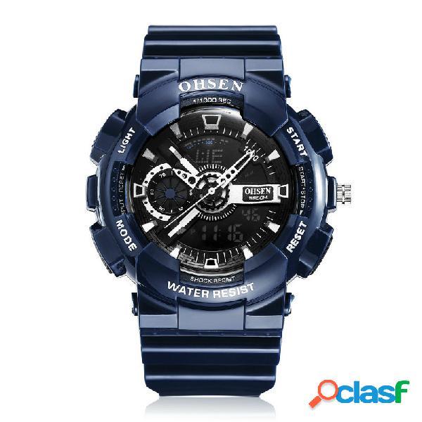 Esporte homens luminosos relógios dual display digital watch cronômetro alarme relógio impermeável