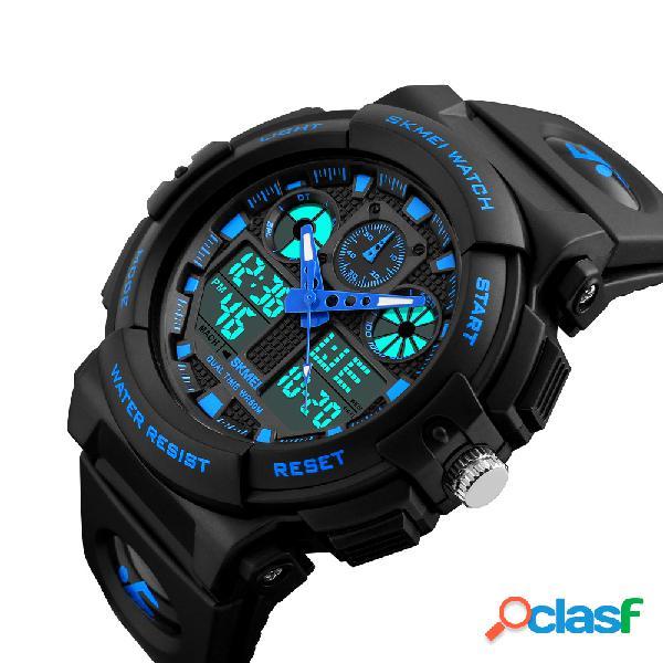 Homens esporte relógio digital chorongraph 50m impermeável luminoso dual display digital watch