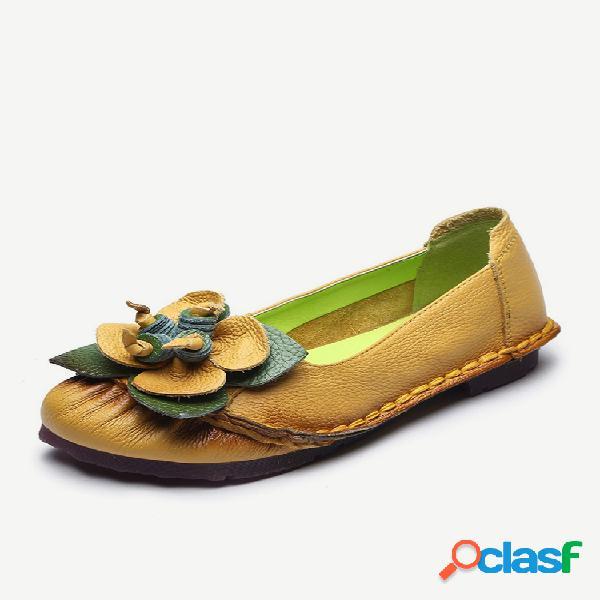 Couro de vaca de mulheres costura flor casual flat loafers