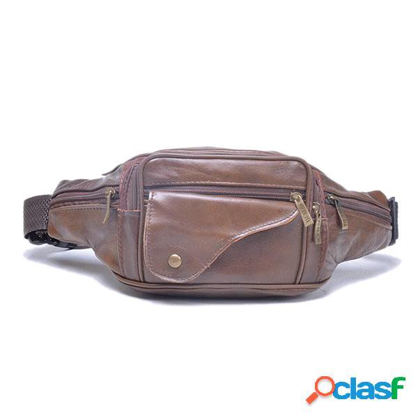 Bolsa de couro exterior de grande capacidade de couro genuíno bolsa de telefone com saco crossbody multifuncional