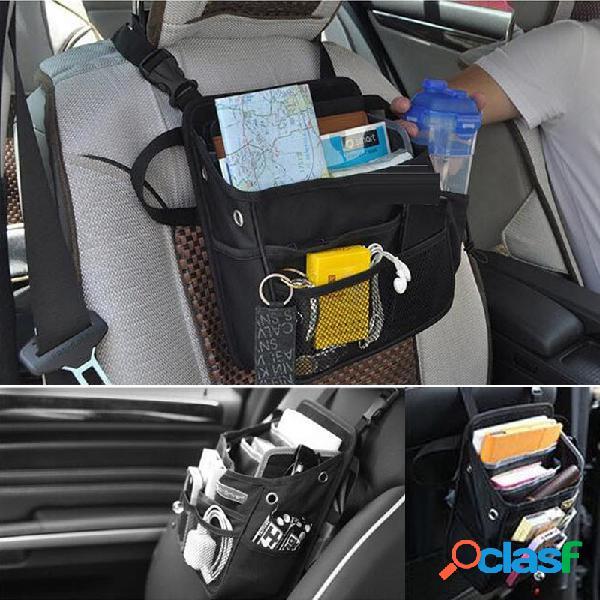 Organizador de assento de carro titular saco de armazenamento de viagem cabide de volta à prova d 'água multi bolso