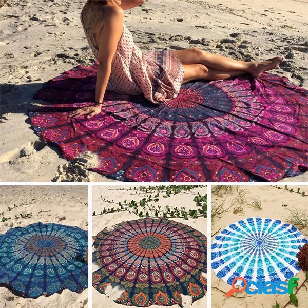 150cm bohemian estilo fino chiffon toalha de praia de yoga mandala cama redonda folha tapeçaria toalha de mesa seda scaf
