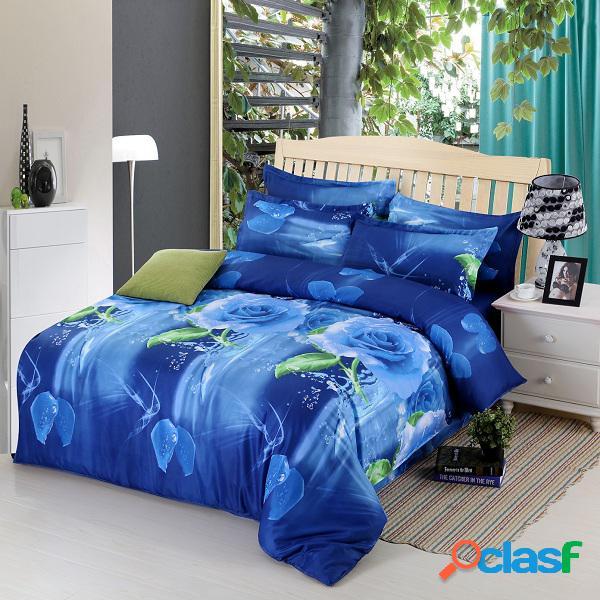 4pcs suit fibra de poliéster 3d blue rose flower reactive dyeing bedding sets queen size