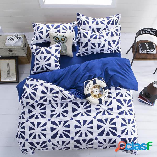 3 ou 4pcs fibra de poliéster azul branco reativo dyeing bedding sets único twin queen size