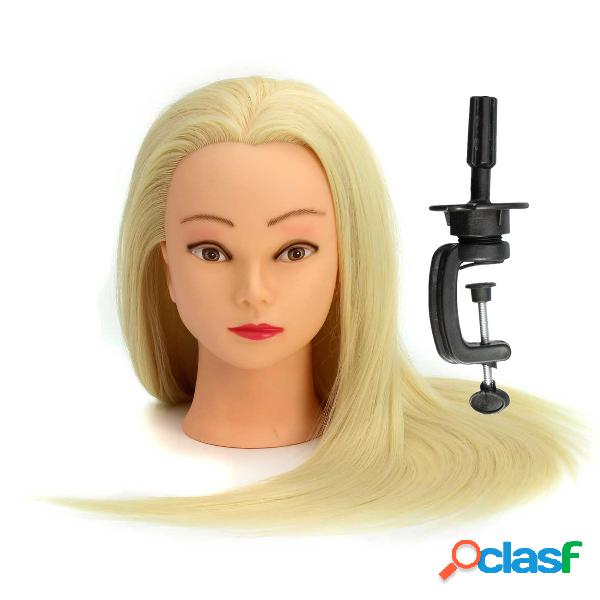 30% real hair long hairdressing mannequin training practice head salon with clamp