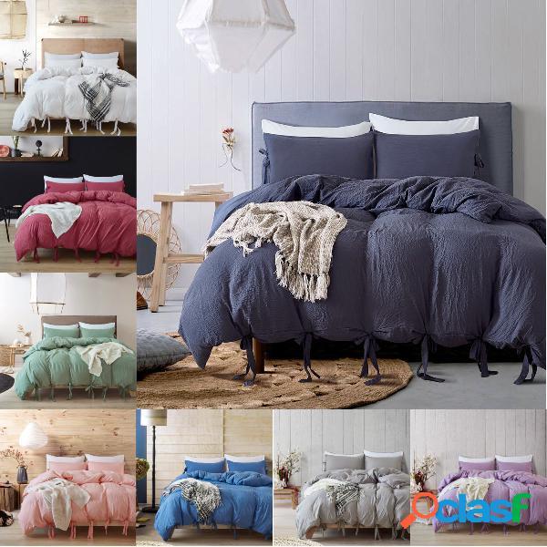 Conjunto de roupa de cama de fita de cor sólida com 3 peças de roupa de cama borboleta bowtie capa de edredão conjunto de fronha individual twin queen size