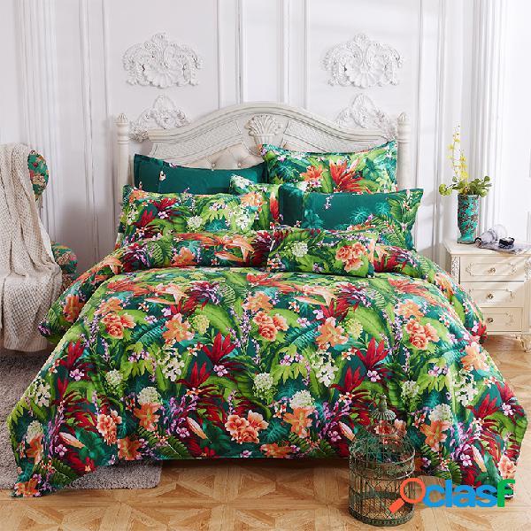 Venda quente escovado floral padrão quatro conjuntos de conjunto de cama