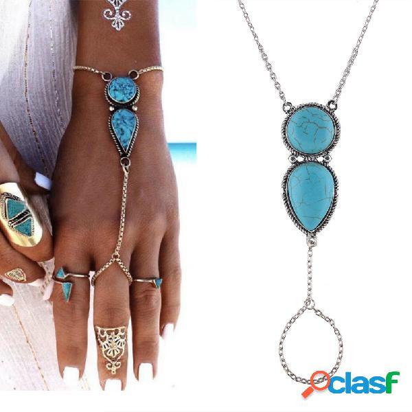 Pulseira de corrente boêmia com gota d'água no dedo turquesa encanto pulseira de joias étnicas para mulheres