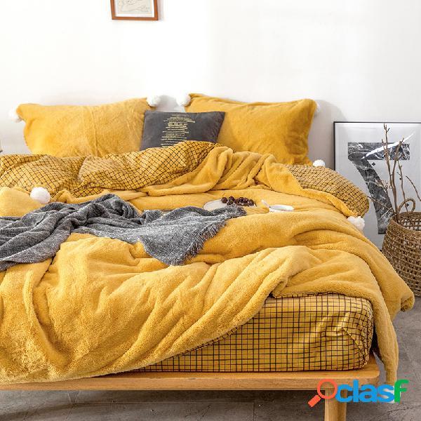 Conjunto de roupa de cama de pelúcia 4 unidades engrossar e quente em treliça estilo de cama com fronha de edredom extra king