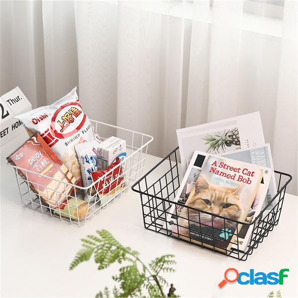 Organizador de cestas de armazenamento de malha de ferro caixa recipiente banheiro bandeja de cozinha de quarto