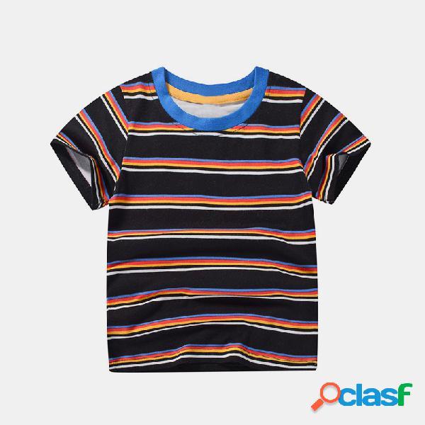 T-shirt casual de manga curta com listrado para menino de 1 a 8 anos