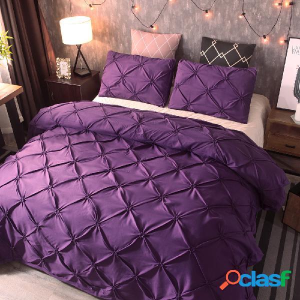 Conjunto de roupa de cama de poliéster de luxo de cor sólida com 3 unidades e fronha de edredom queen size king size completo e fronha