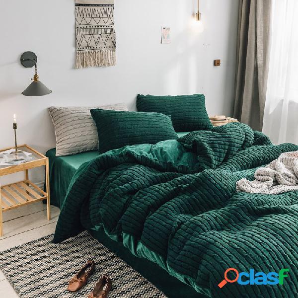 Conjunto de roupa de cama de veludo com 4 unidades de chenille cryatal queen king size edredom com capa de edredom e fronha