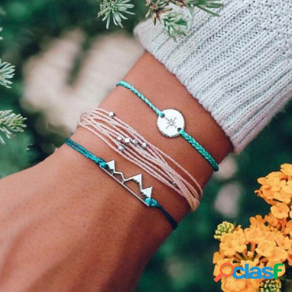 Bohemian trançado corda pulseira set 3 peça liga moedas irregular contas geométricas pulseira para as mulheres