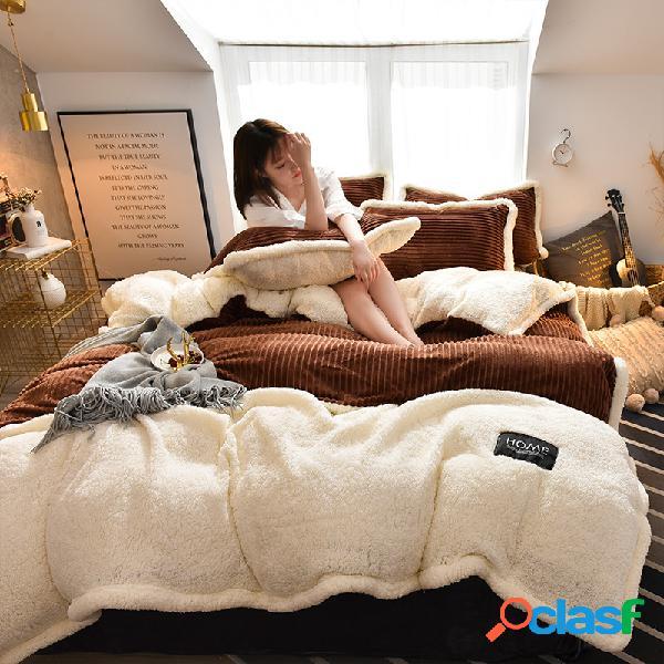 Conjunto de roupa de cama de lã de veludo cotelê com 4 peças ab com lado ab e capa de edredom fronha king size