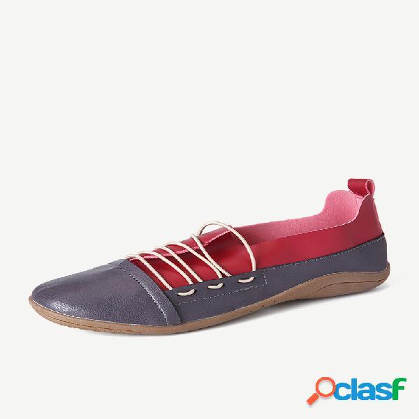Tamanho grande soft deslizamento nos sapatos baixos casuais das mulheres planas de emenda