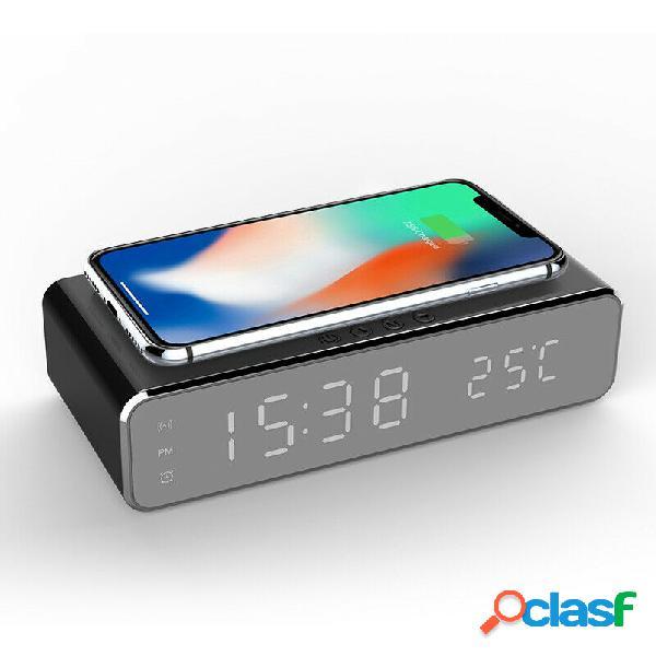Led 12 / 24h alarme elétrico relógio com carregador de telefone sem fio digital display desktop relógio