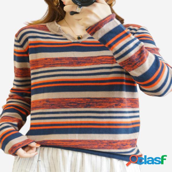 Camisola solta malha listrada de manga comprida feminina com decote em v fino moda dentro de base camisa