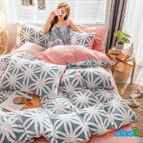 Conjunto de roupa de cama de inverno de flanela impressa em frente e verso com 4 unidades home soft cama de inverno queen king size