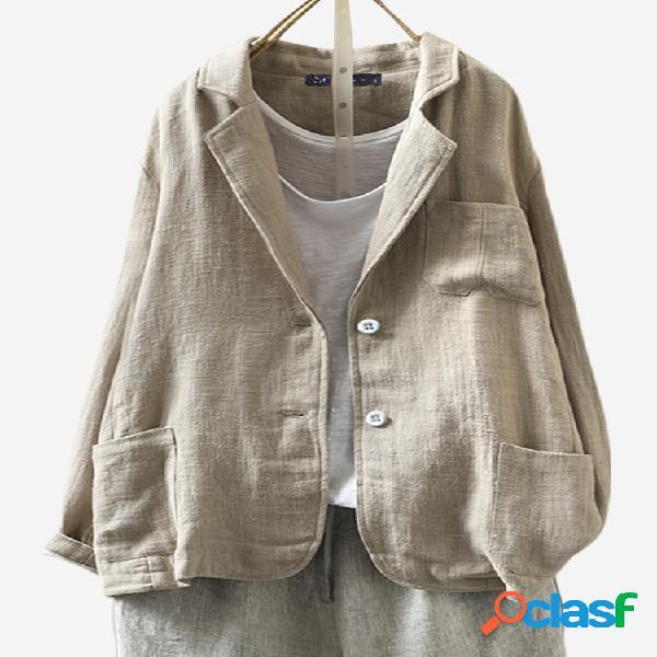 Jaqueta de terno tamanho plus com botão de lapela manga comprida de algodão