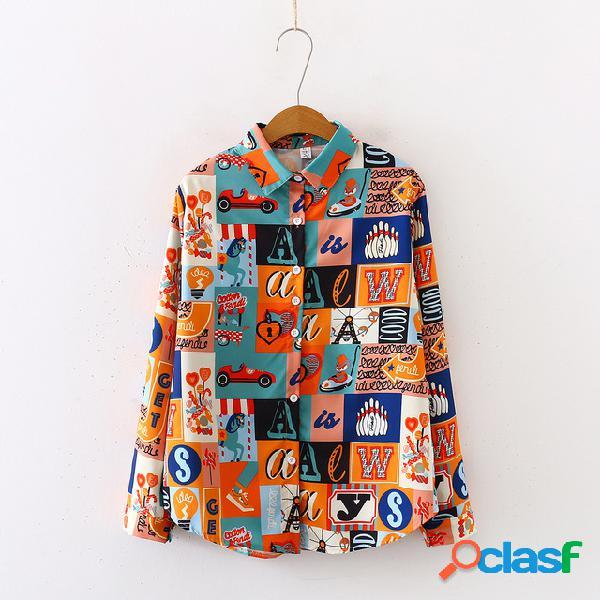 Chiffon camisa estação de manga longa das mulheres novo solto retro hong kong estilo furacão top estampa floral camisa