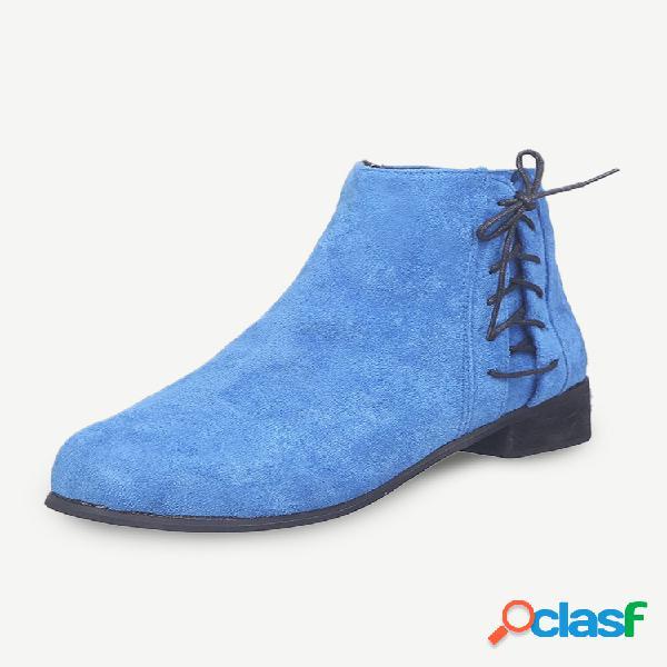 Botas de tornozelo com zíper azul para mulheres em camurça borboleta decoração resistente deslizante