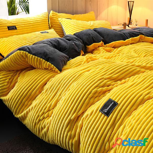 Conjunto de roupa de cama de inverno aveludado de veludo cotelê 3/4 pcs ab sided ab