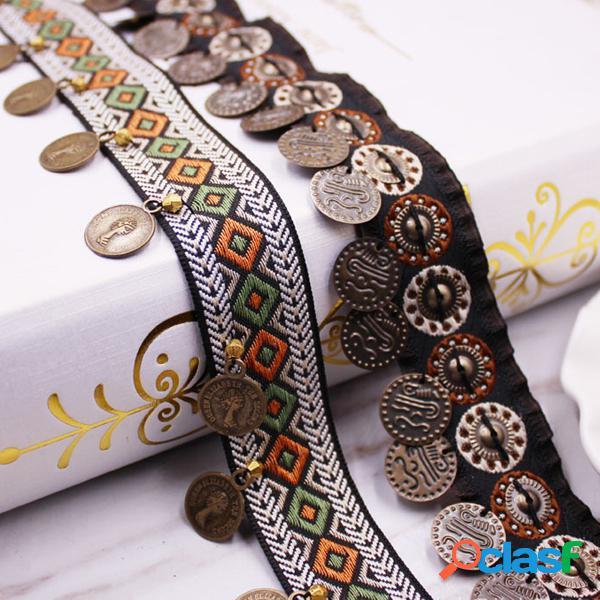2 metros retro cobre borla guarnição do laço fringe fita de costura artesanato boêmio diy
