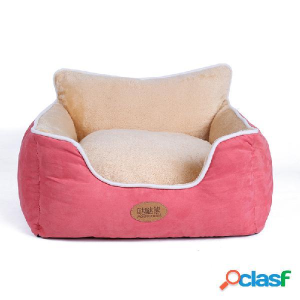 3 cores curto de pelúcia camurça pet couch sofá cama cão gato inverno quente dormir canil