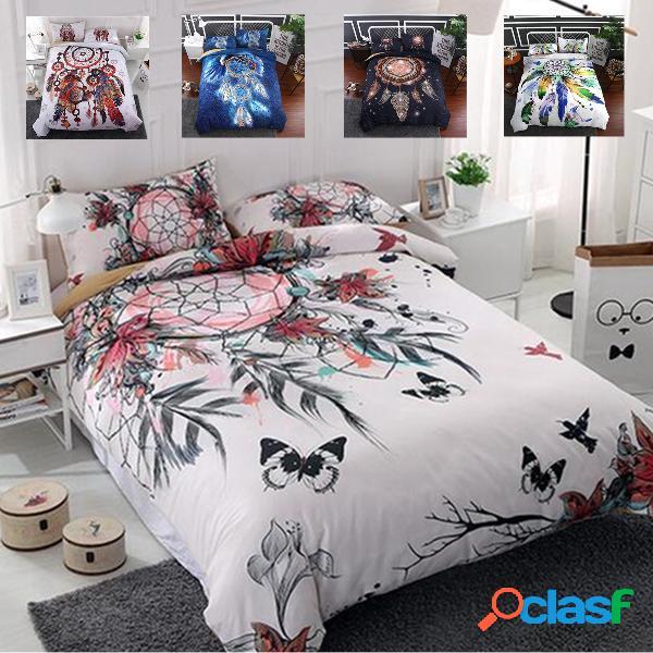 Dream catcher net impresso conjunto de cama colcha capa de edredon fronha queen full twin size
