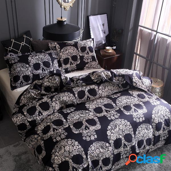 Preto branco caveira impresso colcha fronha estilo halloween conjuntos de cama
