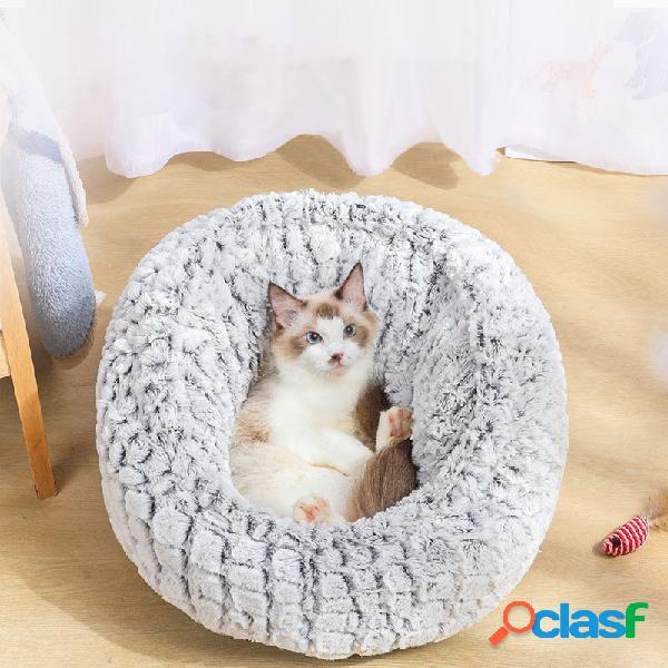 Pv long plush super soft pet round bed kennel cachorro cat almofada de dormir confortável ajustável