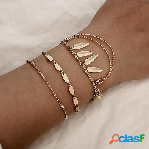 Boêmio multi-camada de ouro pulseira set seta borla pingente cadeia encanto pulseira para as mulheres