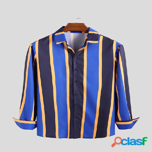 Camisa masculina curta listrada com gola virada para baixo respirável casual camisa de manga comprida